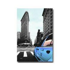 Tableau Taxi Bleu New York 55 x 80 cm