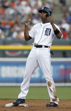 Austin Jackson reacts after being called out stealing second base, 06/07/2014