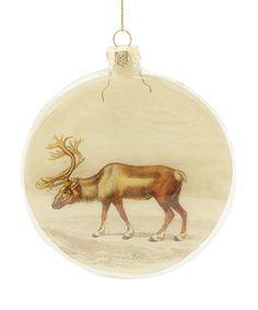 Cream Reindeer Diorama Glass Decoration Diorama, Reindeer, Liberty, Rooster, Xmas, Cream, Decoration, Fabric, Gifts
