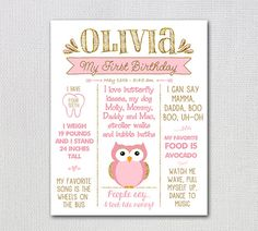First Birthday PRINTABLE Poster / Customized by FancyShmancyNotes