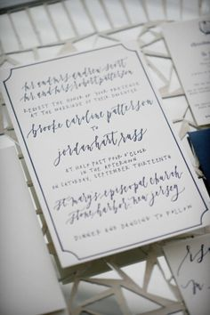 Blue and white invitations: http://www.stylemepretty.com/new-jersey-weddings/avalon/2015/04/07/new-jersey-nautical-yacht-club-wedding/ | Photography: Alison Conklin - http://alisonconklin.com/