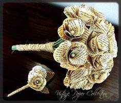 This is so interesting!    Book Page Bouquet  Book Page Boutonniere Book by theepapergirl, $111.00