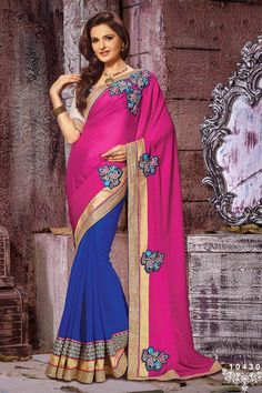 Buy Violet Georgette Party Wear Saree Online in low price at Variation. Huge collection of Party Wear Sarees for Party, Festivals, Engagements and Ceremonies. #party #partywearsarees #sarees #onlineshopping #latest #lowprice #variation. To see more - https://www.variationfashion.com/collections/party-wear-sarees