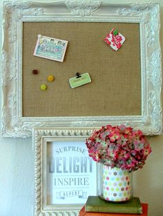 Playroom- im going to make a wall of frames- corkboard, magnet, chalkboard!  Yes! Kv