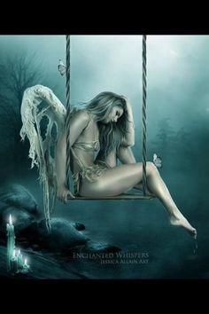 Broken fantasy Angel on swing art ptint Sad Angel, Angel And Devil, Crying Angel, Fantasy Angel, Angel Artwork, Arte Obscura, Ange Demon, Broken Wings, Angel Pictures