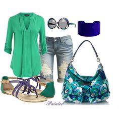 ~Indigo and Green~, created by mels777 on Polyvore