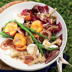 Christmas summer salad with pancetta and stone fruit Woolworths Food, Buffalo Mozzarella, Good Food, Yummy Food, Stone Fruit, Salad Ingredients, Food Festival, Summer Salads, Healthy Tips