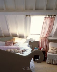pretty Swedish bed under the eaves