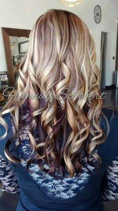 Blonde highlight with burgundy violet purple maroon lowlight. Fall Hair by Hannah. Long layered hair.