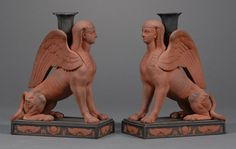 Pair of Wedgwood Rosso Antico and Black Basalt Egyptian Sphinxes, England, late 18th century