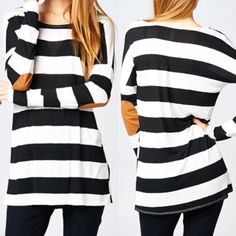 P.S. I Love You More Boutique   Striped Elbow Patch Top    - Spring Summer Fall Winter Fashion www.psiloveyoumoreboutique.com