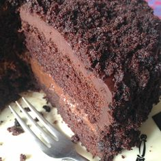 "Chocolate Fudge ""Blackout"" Cake - Our recipe marries a moist chocolate layer cake with rich, pudding-like filling and thick ganache icing."