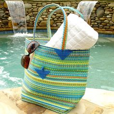 Aqua Natte Tote Bag by MbareMade in Senegal!