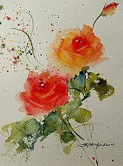 Sandra L. Strohschein Paintings - Tea Roses by Sandra Strohschein
