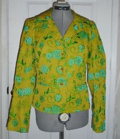 Blue Green JOHNNY WAS Floral Embroidered Jacket Size Small #JohnnyWas #BasicJacket