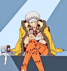 One Piece Funny, One Piece Comic, One Piece Fanart, One Piece Anime, The Pirate King, Trafalgar Law, Manga Drawing, Cartoon Art, Fan Art