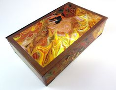 Decorative box with overlaid marbleized design by theBOXshop1618