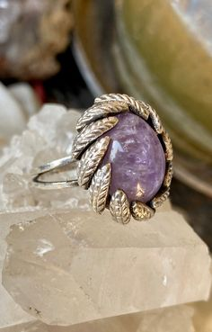 Hippie Ethnic Handmade Natural Gemstone Ring Boho Sterling Silver Ring With Natural Amethyst and Green Peridot Stone Size 7 Tribal Jewelry For Women Unique Tribal Oval Stone Ring