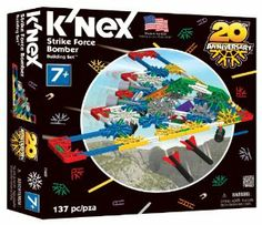 K'NEX Classics Strike Force Bomber by K'NEX. $12.31. Over 130 classic K'Nex pieces. For ages 7+ years. Packed in the United States. From the Manufacturer                Build a bomber with classic K'Nex pieces. The Strike Force Bomber has 137 pieces including missiles that can be released from the bomb bay doors to create realistic bombing missions. Or build a drone or figher jet that each carry missiles.                                    Product Description                11...