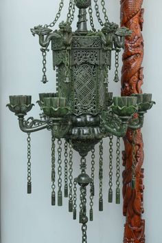 Sensational pair of Jasper Jade Lanterns with Carved Wood Dragon Stands | From a unique collection of antique and modern lanterns at https://www.1stdibs.com/furniture/lighting/lanterns/