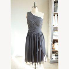 Crinkle chiffon party dress,  charcoal grey bridesmaid dress, one shoulder formal dress wedding dress (B065) on Etsy, $98.00