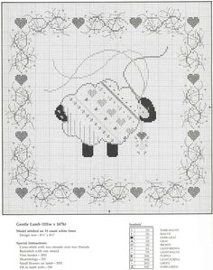 ~ Wooly Sheep w/ Hearts ~ Sheep Cross Stitch, Cross Stitch Sampler Patterns, Just Cross Stitch, Cross Stitch Heart, Cross Stitch Samplers, Cross Stitch Animals, Cross Stitch Designs, Cross Stitching, Cross Stitch Embroidery