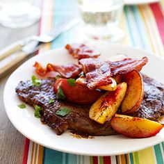 Steak with Nectarines Sweet grilled nectarines and crispy grilled bacon add an amazing flavor boost to an already delicious and tender grilled steak.