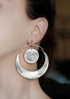 Sunset Shell Disc Dangle Earrings Marquise Shell Disc /& Crystal Dangle Earrings Handmade Original Design Bold Quirky Statement Earrings