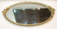 "Large VTG MATSON Vanity Mirror Tray 16.5"" Gold Rose Leaf Edge Gold Vanity Mirror, Mirror Tray, Vanity Tray, Large Oval Mirror, Art Of Glass, Rose Leaves, Lipstick Holder, Gold Filigree, Yard Sale"