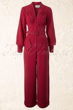 Miss Candyfloss - TopVintage exclusive ~ 40s Pearl Playsuit in Sassy Red