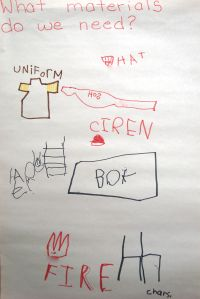 fire station planning - brainstorming with kids what materials they will need for a new centre