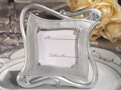 place card frame for baby showers | Stylish and chic silver place card frame favor | MonsterMarketplace ...