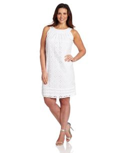Tiana B Women's Plus-Size Eyelet Trapeze Dress