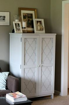 Nice way to dress up a plain cabinet. Stencil project from Good girl gone bad.
