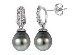 Rhodium Plated Sterling Silver 11mm Tahitian Cultured Pearl Dangle Ear