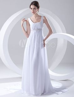 285de1cdcd92 Milanoo   White Empire Waist Applique Beading Chiffon Bridal Wedding Dress