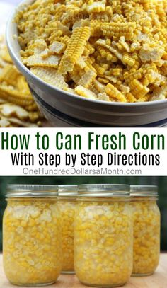 If you are running out of freezer space or just want an alternative to freezer corn, canning corn is Pressure Canning Recipes, Home Canning Recipes, Cooking Recipes, Canning Tips, Pressure Cooking, Easy Canning, Jam Recipes, Canning Corn, Canning Pickles