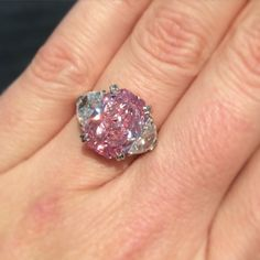A whole world of pink intensity. Now we're talking !! 5.29 carat diamond. No filter needed. @christiesjewels in New York on April 14. Lot 312. #pinkdiamond #ring