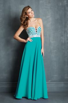 Smart Prom Dress A Line Floor Length Beaded Bodice Chiffon 2014 New Style USD 166.99 STP1S7FZHP - StylishPromDress.com