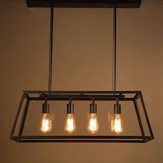 302.89$  Watch here - http://alihlx.worldwells.pw/go.php?t=32760327708 -  American LOFT Retro Pendant Lights Edison LED light bulbs droplight Rectangular black wrought iron Dining-room lamp 85V-260V