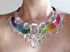 Rainbow Rhinestone Statement Necklace, Colorful Mega Statement Necklace, Jeweled Rainbow Bib Necklace, Dramatic Bridal Jewellery