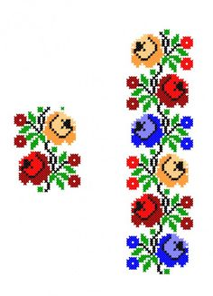 FL347 Simple Cross Stitch, Cross Stitch Rose, Cross Stitch Borders, Cross Stitch Flowers, Cross Stitch Charts, Cross Stitch Designs, Cross Stitching, Cross Stitch Patterns, Polish Embroidery