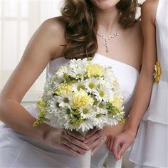 Yellow Carnations and White Daisies Bridal Bouquet