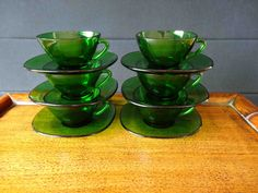 Vereco France 6 Vintage Mid Century  Forest Green Glass Coffee Cups and saucers, demitasse