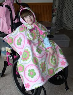 Wearing our size Small Wheelchair Poncho.