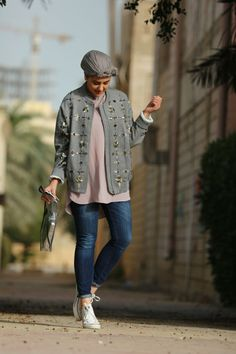 The Hybrids | A visual diary of a couple of half-Kuwaiti fashion enthusiasts. Loving the stones on the jacket Street Hijab Fashion, Muslim Fashion, Modest Dresses, Modest Outfits, Missoni, Hijab Fashion Inspiration, Style Inspiration, Hijab Jeans, Swaggy Outfits
