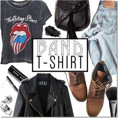 Band T-shirt by dian-lado on Polyvore featuring moda, Rosegold, Topshop, Chloé, Gucci, Bobbi Brown Cosmetics, Urban Decay, bandtshirt and bandtee