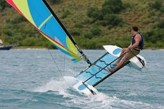Flying a hull on a Hobie Wave.
