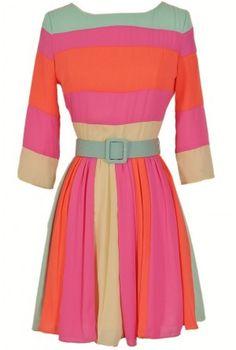 Rainbow Bright Belted Colorblock Designer Dress