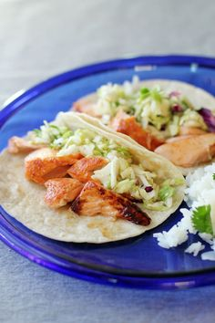 Grilled Salmon Tacos with Zesty Cilantro Slaw by @This Week for Dinner